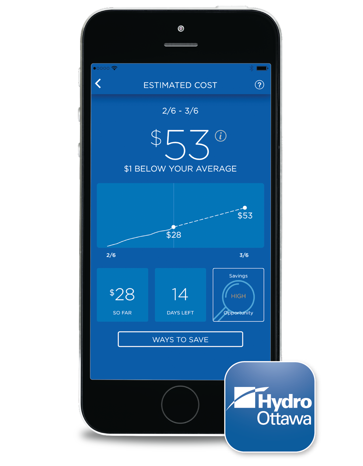 iPhone with Hydro Ottawa's app showing the estimated cost feature