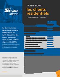 Mai 2019 brochure sur les tarifs applicables aux clients résidentiels