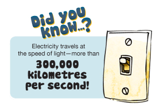 Electricity travels at the speed of light.