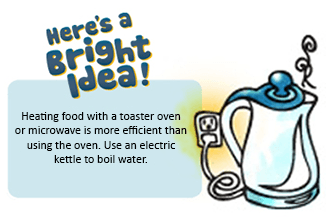 Heating food with a toaster is more efficient than using the oven. Use an electric kettle to boil water.