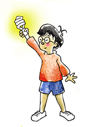 Drawing of a boy holding a light bulb