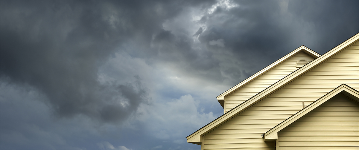 Stormy clouds above a residential home