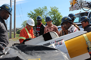 Image of a group of Powerline Technician students receiving practical training