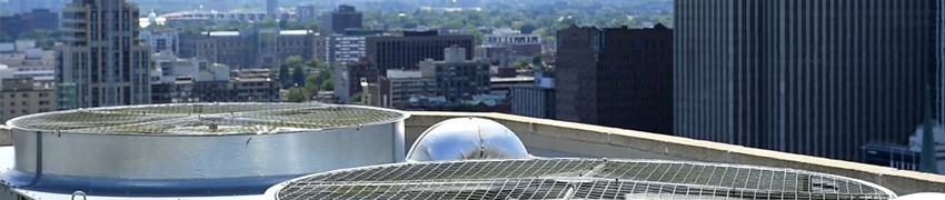A view of Ottawa buildings with cooling tower