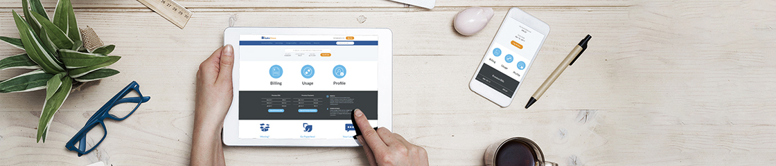 Closeup of a person's hands accessing Hydro Ottawa's website in an iPad