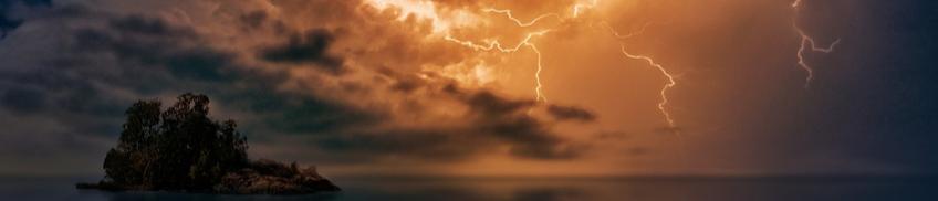 lightning in a dark night sky