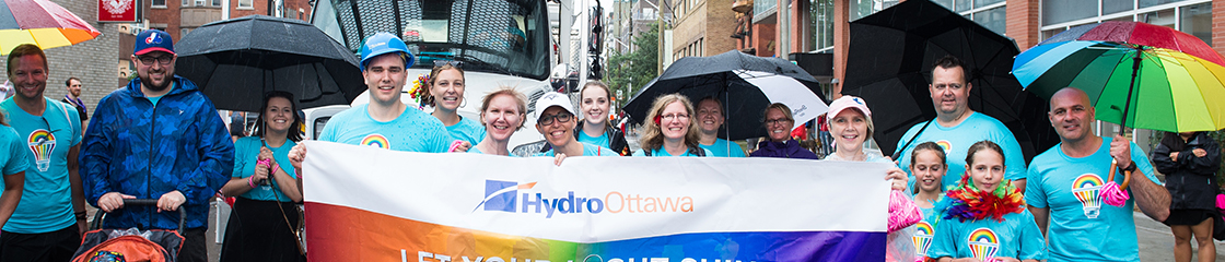 Group shot of participants in Ottawa's 'Gay Pride Parade'