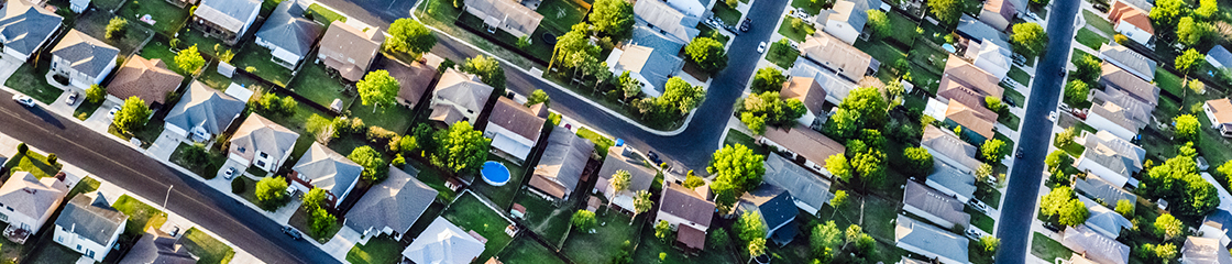 Suburban housing development neighbourhood - aerial view