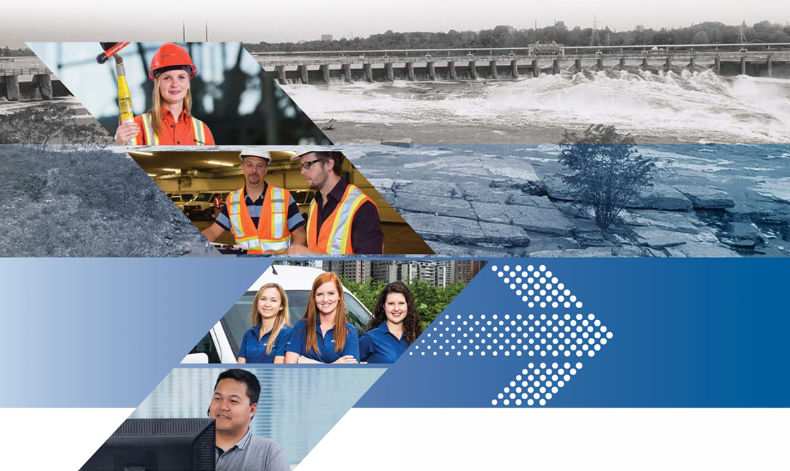 A photo collage including images of a female customer service agent, a hydroelectric generator, a HO employee reading a meter, and a roof mounted solar panel