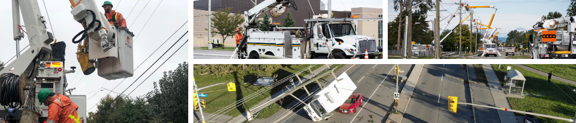 collage showing crew members working to fix broken energy poles on the streets after the tornado