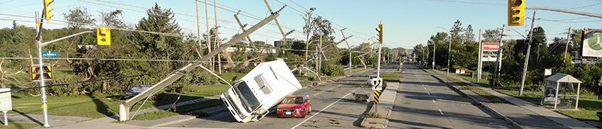 Truck overturned by tornado