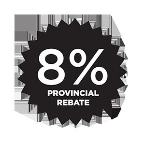8% Provincial Rebate
