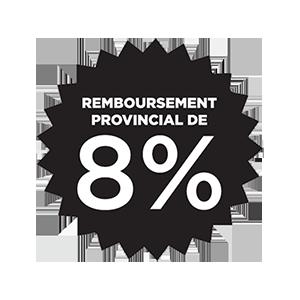 Rabais provincial de 8 %