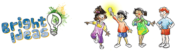 An illustration of children playing and holding a lit light bulb.