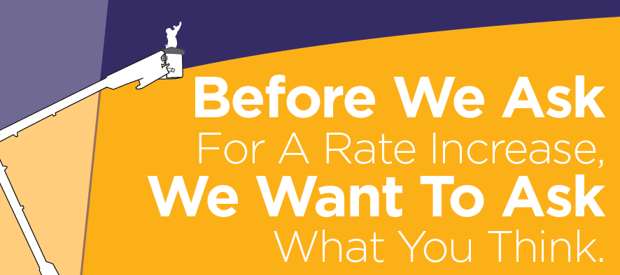 An illustration asking for feedback on a rate increase.