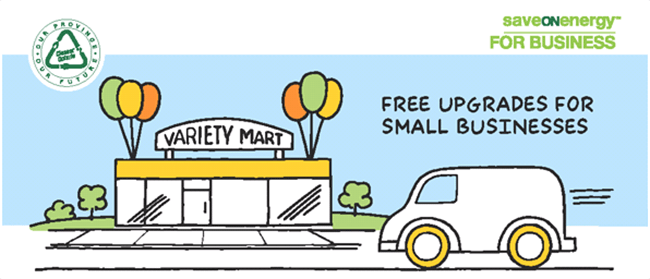 Image: Illustration of a small variety store with a van driving in front of it.  A heading reads