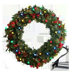 Une guirlande de Noël LED montrant son plugin cordon