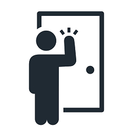 Illustration of a person knocking on a door