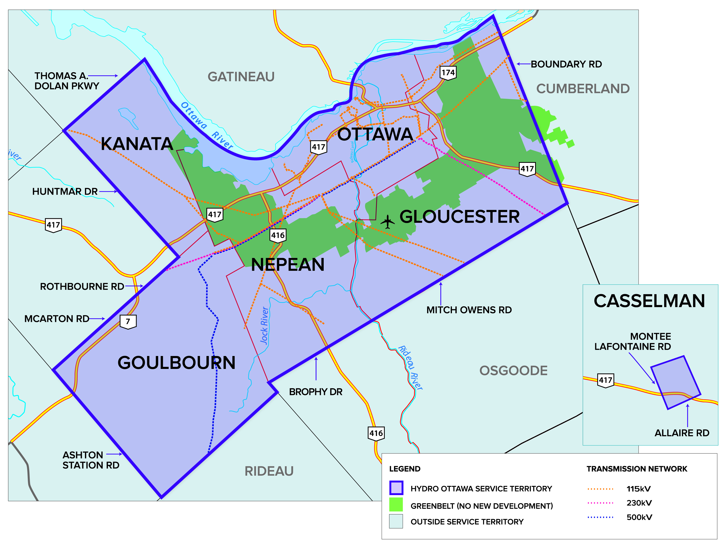 Hydro Ottawa Coverage Map