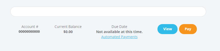 account number current balance and due date buttons as shown on my account page