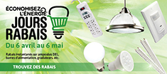 Rabais instantanés sur ampoules DEL, barres d'alimentation, gradateurs, etc.