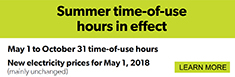 Ontario Energy Board: Summer time-of-use hours in effect
