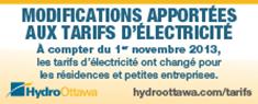 Modifications apportées aux tarifs d'électricité (le 1er novembre 2013)